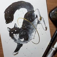 No description of the photo. Creature Drawings, Animal Drawings, Cool Drawings, Pretty Art, Cute Art, Posca Art, Cat Drawing, Cat Tattoo, Ink Art