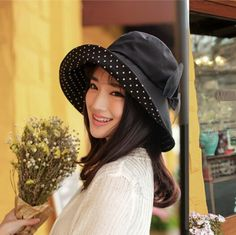 4c9f10d1176 Black bucket hats with bow stylish wide brimmed sun hat for women