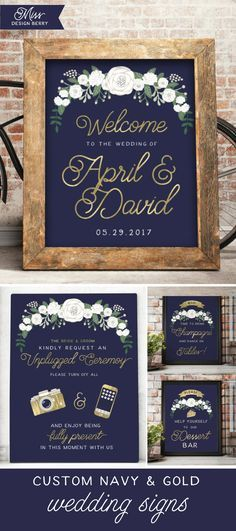 Shop unique and customized Navy and Gold wedding signs, along with 100's of other unique wedding items, only at Miss Design Berry! Navy Blue And Gold Wedding, Navy Blue Weddings, Navy Rustic Wedding, Navy Gold, Unique Wedding Reception Ideas, Wedding Sign In Ideas, Unique Wedding Programs, Wedding Signage, Unique Weddings