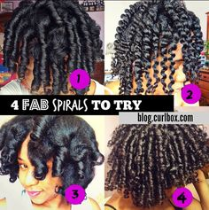 4 FAB SPIRALS TO TRY - http://blog.curlbox.com/2014/09/05/4-fab-spirals-to-try/