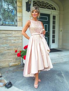 High Low Mother Of The Bride Dresses 2018 Jewel Draped Sequined Satin Tea Length Champagne Wedding Guest Dress Mother Dresses Prom Dresses