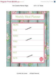 ON SALE-40% DISCOUNT Erin condren life planner-Printable Planner-Weekly Meal Planner-Erin Condren planner insert-planner mania-life planner-