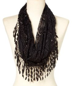 Look at this Black Lace Infinity Scarf on #zulily today!