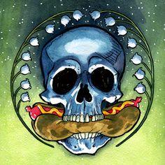 Skull and Hotdog by Margalot