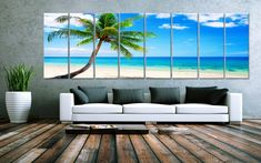 XXLARGE 30x 96 8 Panels Art Canvas Print Beach Palm by BoxColors