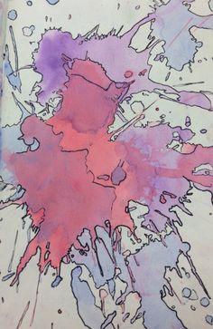 Watercolor & black pen