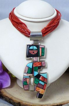 Vintage Frank Yellowhorse Sterling Silver & Multistone Inlay Necklace; Navajo!! #FrankYellowhorse