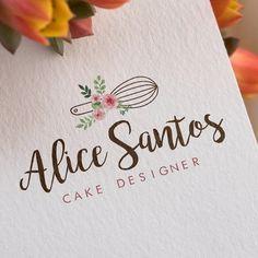Logo Logotipo Bolo Confeitaria Cake Pré-Criada Cake Branding, Logo Branding, Branding Design, Brand Identity Design, Corporate Branding, Logo Dulce, Crumbs And Cream, Sweet Logo, Baking Logo