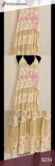 """RED By Valentino Gold Lace Halter Neck Dress XS Condition: New  🎀Color: Gold / Pink  🎀Bust  🎀Sleeve  🎀Length 8"""" 🎀Height 5"""" 🎀V Neck Bust  🎀Material 100% Polyester 100% Silk Lining RED Valentino Dresses Mini"""