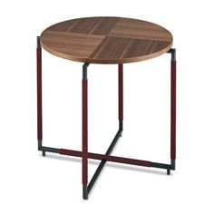 Side table / contemporary / lacquered steel / leather BAK CT HO Frag