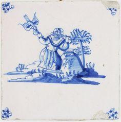 Antique Delft tile depicting Elijah being fed by ravens, 17th century