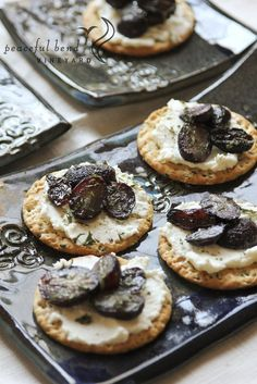 Roasted Grape and Wine Goat Cheese Crackers Appetizer Recipe