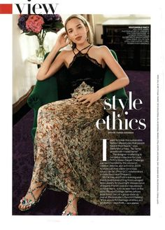 """Phoebe Collings-James in September's """"Style Ethics"""" feature in Vogue Magazine wearing a dress from Stella McCartney's eco-friendly Green Carpet Collection designed for Livia Firth's Green Carpet Challenge."""