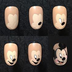 Rose Nail Art, Gel Nail Art, Nail Art Diy, Nail Manicure, Acrylic Nails, Nail Art Designs Videos, Nail Art Videos, Nail Designs, Mickey Nails