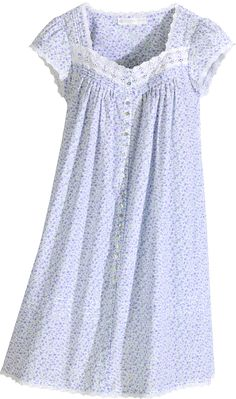 Eileen West lavender field printed coat can be worn as a nightgown. Pretty lavender print in cotton lawn finished with lace, pin tucking and shell buttons. Cotton Nighties, Cotton Sleepwear, Night Gown Dress, Nightgown Pattern, Nightgowns For Women, Womens Nighties, Night Dress For Women, Apron Dress, Girls Pajamas