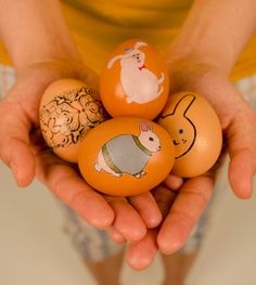 Use temporary Tattoos on dyed Easter eggs.