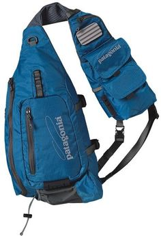 The Patagonia Vest Front Sling combines a traditional fishing vest and sling pack for a best-of-both-worlds solution for fresh and saltwater fishing. Mochila Edc, Single Strap Backpack, Tactical Sling, Tactical Bag, Fishing Vest, Fly Fishing, Edc Bag, Tac Gear, Rucksack Backpack