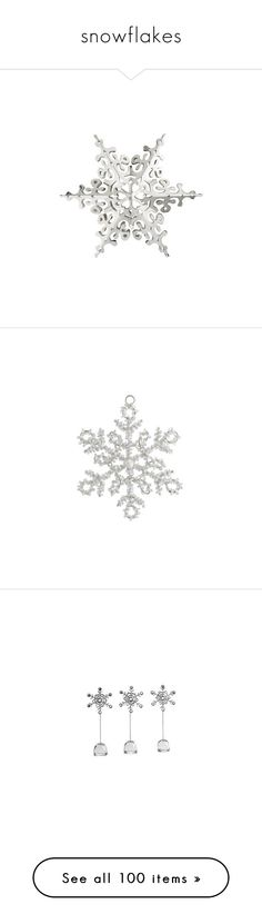 """snowflakes"" by pisces7 ❤ liked on Polyvore featuring home, home decor, holiday decorations, christmas, snowflakes, winter, snow, backgrounds, snowflake christmas tree topper and silver home decor"