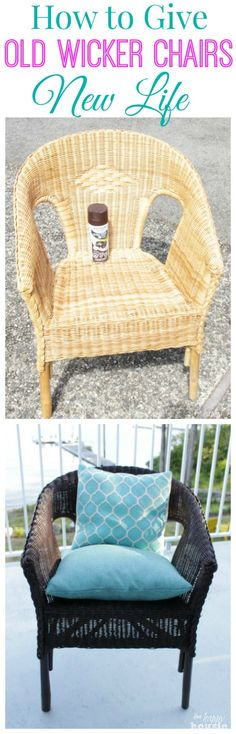 How to turn thrift store finds into an outdoor dining set including how to paint and reupholstered thrift store chairs so they can be used outside. Also how to freshen up old wicker chairs and give them a whole new look in minutes. Diy Old Furniture Makeover, Diy Furniture, Modern Furniture, Modern Decor, Modern Patio, Chair Makeover, Modern Room, Furniture Projects, Furniture Making