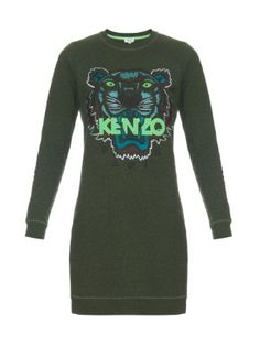 Icons tiger-embroidered sweat-dress  | Kenzo | MATCHESFASHION.COM