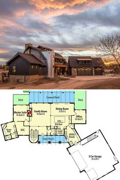 Outdoor view of the stunning country house with a gorgeous brown exterior and modern rustic appeal. This 2 story country barn house plan has 3 to 5 bedrooms and to bathrooms. A Frame House Plans, Barn House Plans, A Frame Cabin, Dream House Plans, Small House Plans, House Floor Plans, Floor Plans 2 Story, Modern Floor Plans, Lakeside Resort