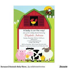 "Barnyard Animals Baby Shower Invitation 5"" X 7"" Invitation Card"
