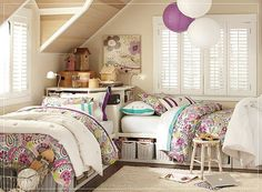 Letting the girls share a room- this would be cute with the purple walls we have.    Twin storage platform beds for shared girls room.