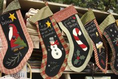 wool and fabric Christmas stockings  #candy cane #snowman