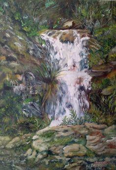 pintura de oleo sobre lienzo  trocito de monte