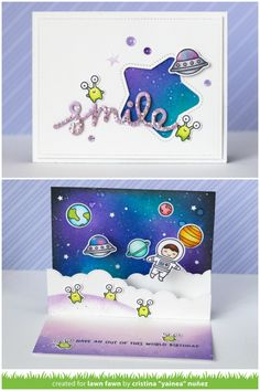 Lawn Fawn - Introducing Cloudy Hillside Pop-Up Add-On! This versatile die set is a companion to our Stitched Hillside Pop-Up die and is perfect for adding clouds or even bubbles to fun dimensional pop-up cards! Yainea's card features Beam Me Up and Out of this World!