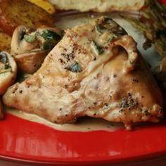 Delectable cream-based sauce loaded with mushrooms and sage, served atop succulent chicken breasts