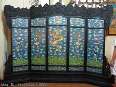 Chinese Royal Palace Redwood inlay Copper cloisonne Dragon protective screen Set