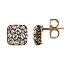 Single Stone Cobblestone Earrings | From a unique collection of vintage stud earrings at https://www.1stdibs.com/jewelry/earrings/stud-earrings/
