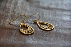 Gold earrings, delicate earrings, Oriental paisley, drop earring, bridal earrings, holiday gift, gift for her, handmade jewelry, efrat makov by EfratMakovJewelry on Etsy