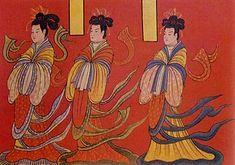Figuras femeninas llevan el peinado de cruz con tocado dorado y visten de la ropa Tsa-chü-chʻui-shao, período temprano de Wei del Norte, siglo V.