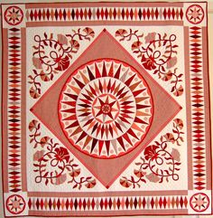 Mariner's compass variation - class with Chris Jurd, by Hilda at Every Stitch Star Quilts, Quilt Blocks, New York Beauty, Mariners Compass, Medallion Quilt, Applique Quilts, 2 Colours, Red And White, Projects To Try