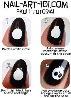 ThanksSkull Nail Art Tutorial- for halloween:) awesome pin