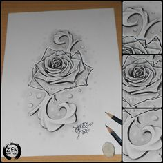 Rose with ornaments; pencil drawing by Blaze