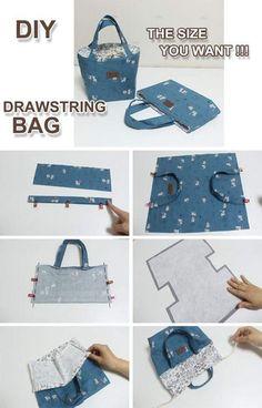 diy Bag pattern - How to make a drawstring bag the size you want Drawstring Bag Diy, Diy Tote Bag, Drawstring Bag Pattern, Bag Patterns To Sew, Sewing Patterns, Diy Bag Making, Diy Bags Purses, Diy Handbag, Handbag Tutorial