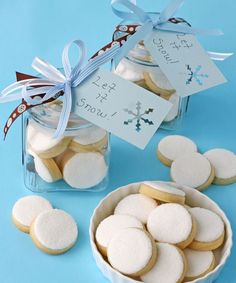 """Simple """"Snowball"""" decorated cookies - Perfect to send to friends who don't get any snow at Christmas."""