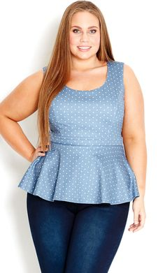 City Chic - DENIM SPOT PEPLUM TOP - Women's Plus Size Fashion #citychic #citychiconline #newarrivals #plussize