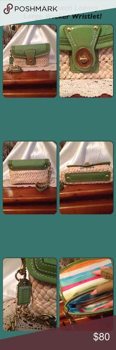 """Coach Legacy Green Weave Wicker Wristlet Coach Legacy Large Green Weave Wicker Wristlet! It is is mint condition! Size 8"""" long X 5"""" high X 2"""" wide. Comes from a non-smoking home pet free. I ship within 24 to 48 hours Monday through Friday. If you have any questions please ask! Coach Bags Clutches & Wristlets"""