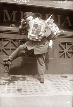 Postman taking a break and resting -photo taken somewhere between 1920 and 1930