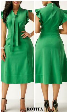High Waist Tie Neck Green Pocket Dress Green fashion dress,catch up with green fashion,shop it.#rotita