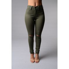Canopy Jeans Olive ($15) ❤ liked on Polyvore featuring pants