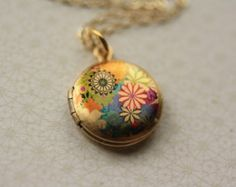 Colorful Flowers Locket, 14kt Gold Filled Chain, Pink and Yellow, Blue Floral, Miniature Pendant, Small, Photo Jewelry