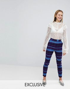 Check Slim Trousers - Monki #pinstyle