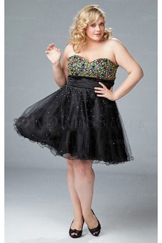 Organza Sweetheart Beading Plus Size Formal Dresses - by OKDress UK