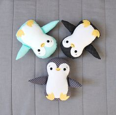 This adorable baby penguin is made of cotton fabrics and fleece. It's firmly stuffed with non-allergenic polyester fiber. Mouth and brow are carefully