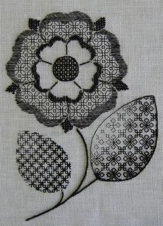 blackwork embroidery flowers